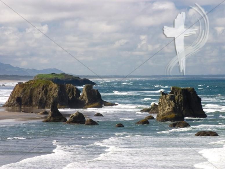 peaceful ocean and cross