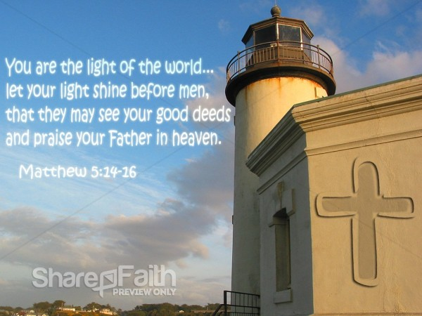 Light House Beacon With Verse From Matthew Christian