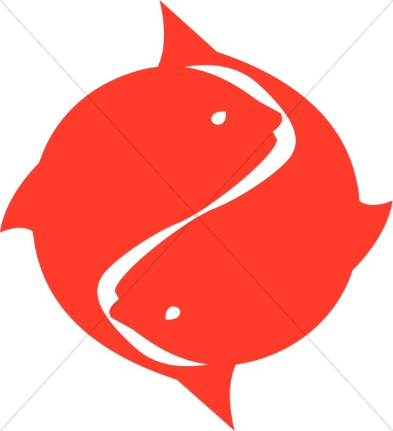 Bright Red Two Fish Symbol