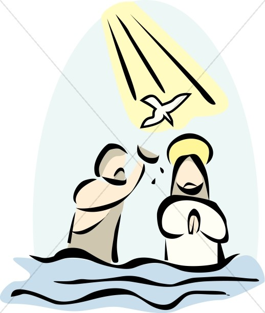 Jesus Baptized by John in the River Jordan