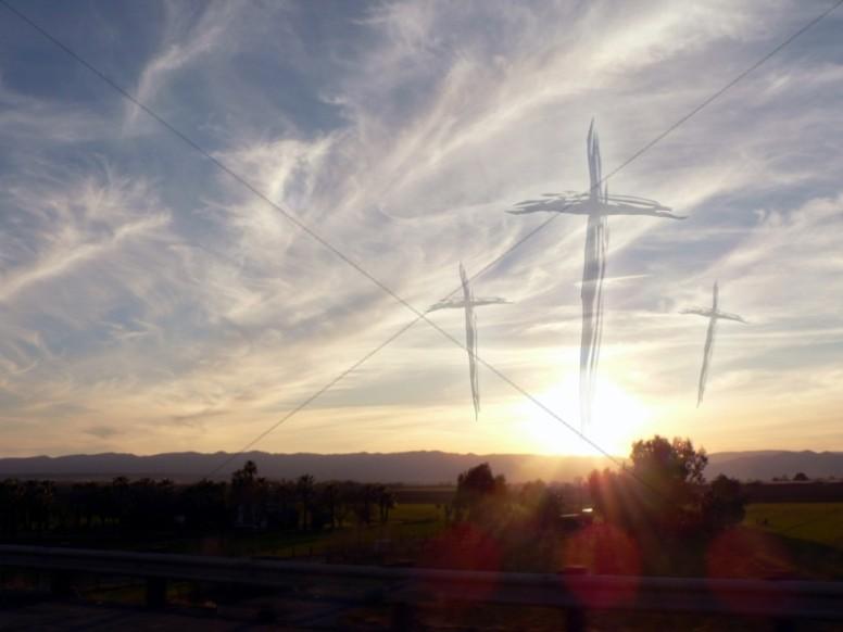 Three Crosses on Sunset Wallpaper