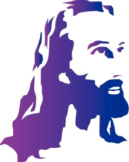 Purple Woodblock Jesus Portrait