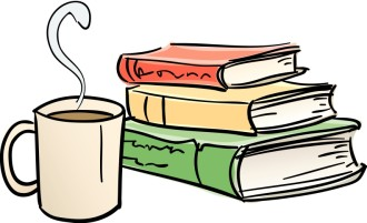 Library Books and Coffee Mug
