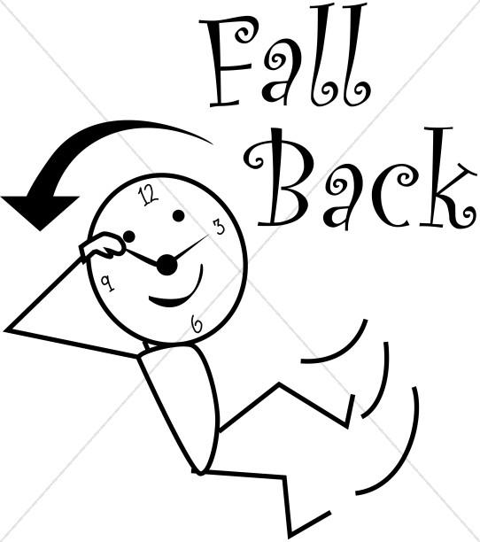 Fall Back Daylight Savings Stick Figure