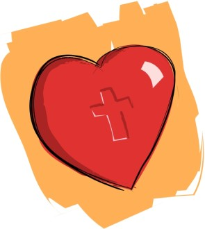 Heart Imprinted with Cross on Orange