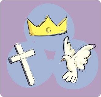 The Trinity as the Crown, Cross, and Dove