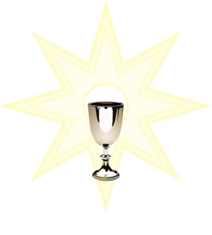 Silver Chalice with Sun Background