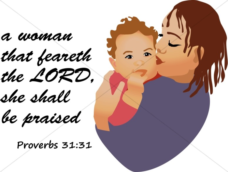Woman and Baby with Proverb
