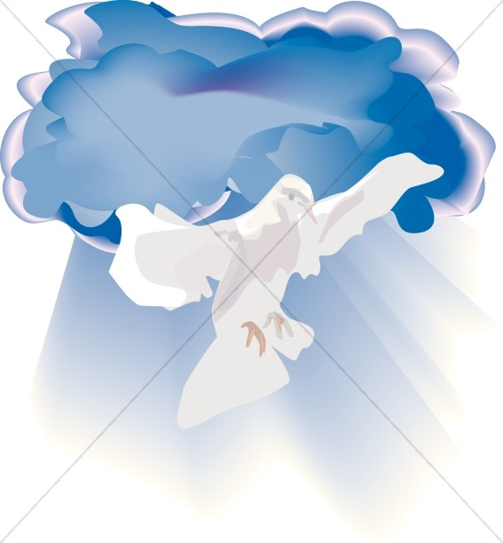 Dove with Rays in Blue Sky