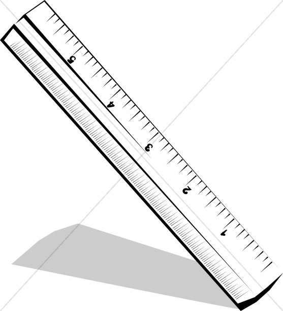 Tilted Black and White Ruler | Christian Classroom Clipart