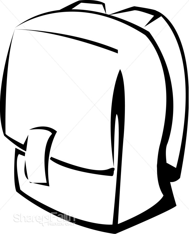 Black and White School Backpack | Christian Classroom Clipart