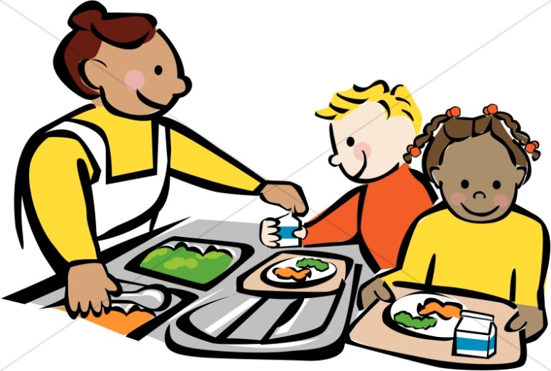 Children Getting Lunch at Cafeteria