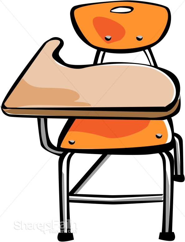 Orange Student Desk Christian Classroom Clipart