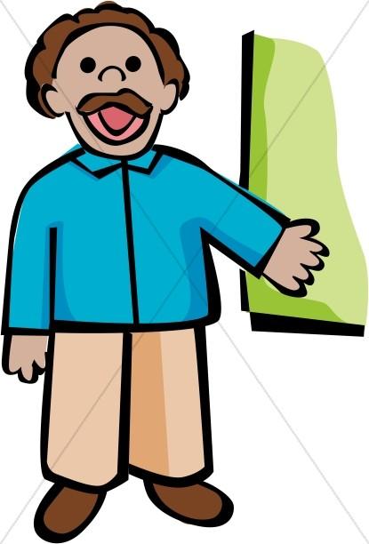 Cartoon School Teacher with Chalkboard