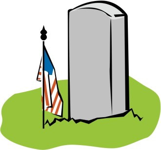 Blank Tombstone with Memorial American Flag