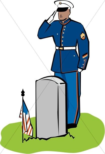 Dress Soldier Salutes the Fallen    Color