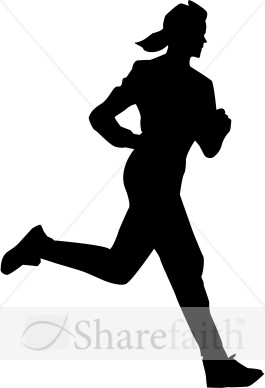 Woman in Silhouette running