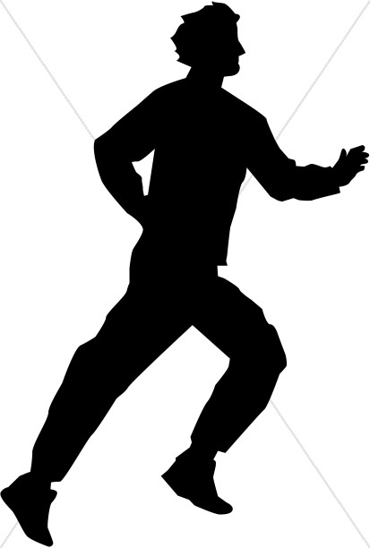 Running Man in Silhouette