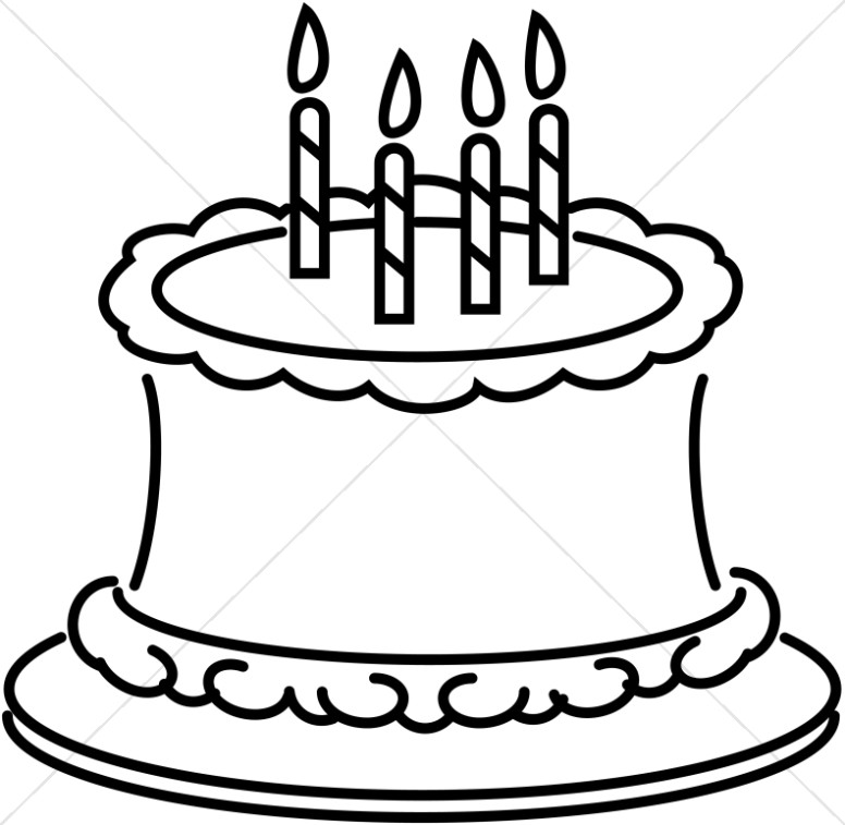 Birthday Cake Pictures Black And White : Line Art Birthday Cake Church Birthday Clipart