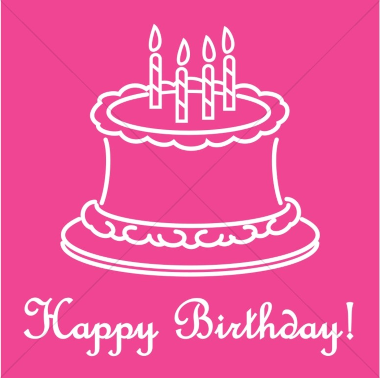 Pink Happy Birthday Script With Outlined Cake Church