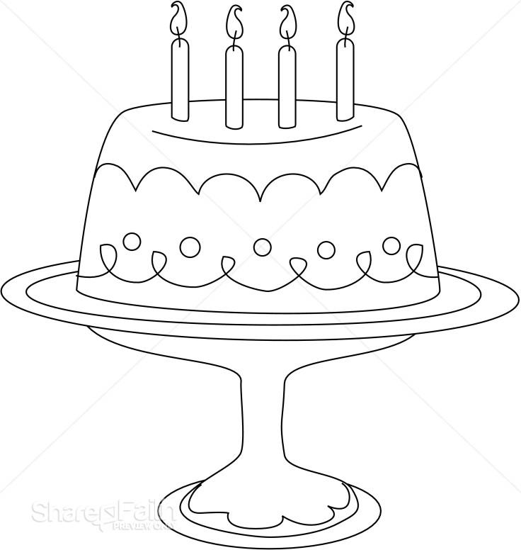 Stylized Line Art Cake On Platter