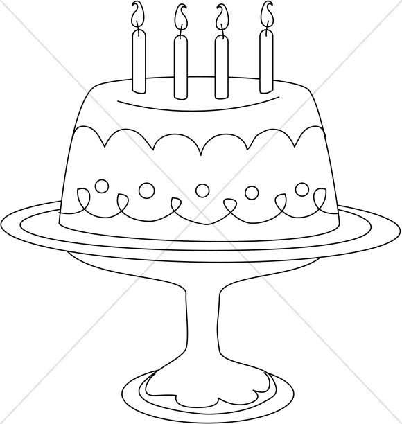 Stylized Line Art Cake on Platter