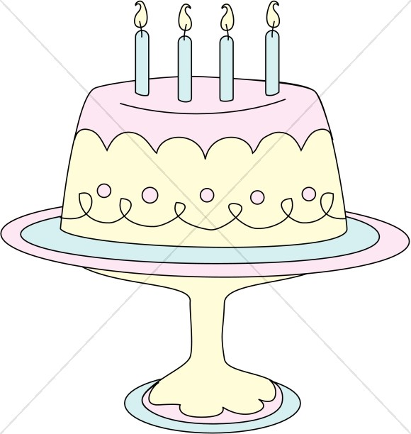 Pastel Birthday Cake on Platter