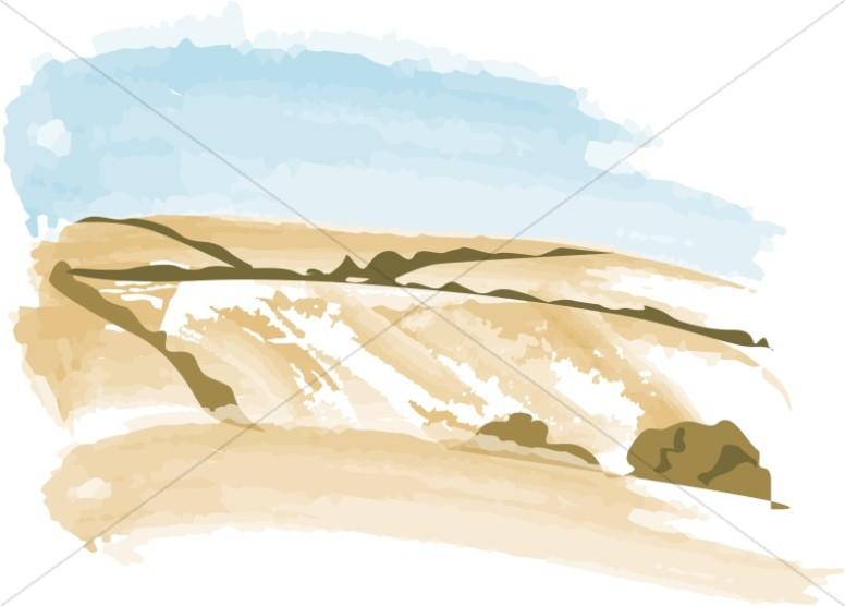 Watercolor Wheat Fields