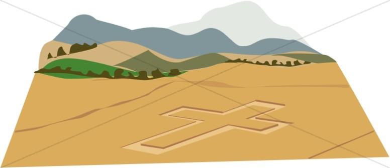 Christian Cross in Field of Crops