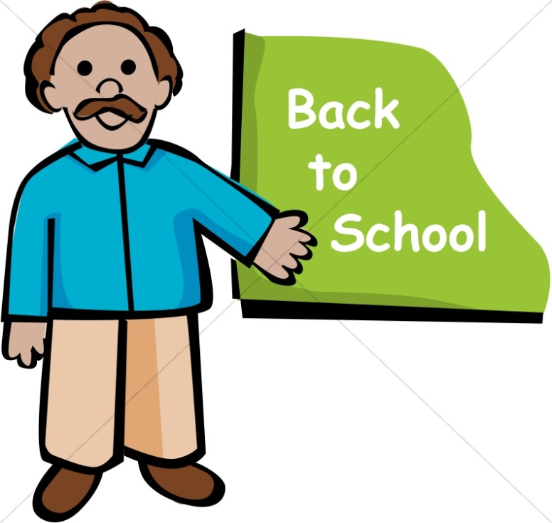 Teacher with Back to School Chalkboard