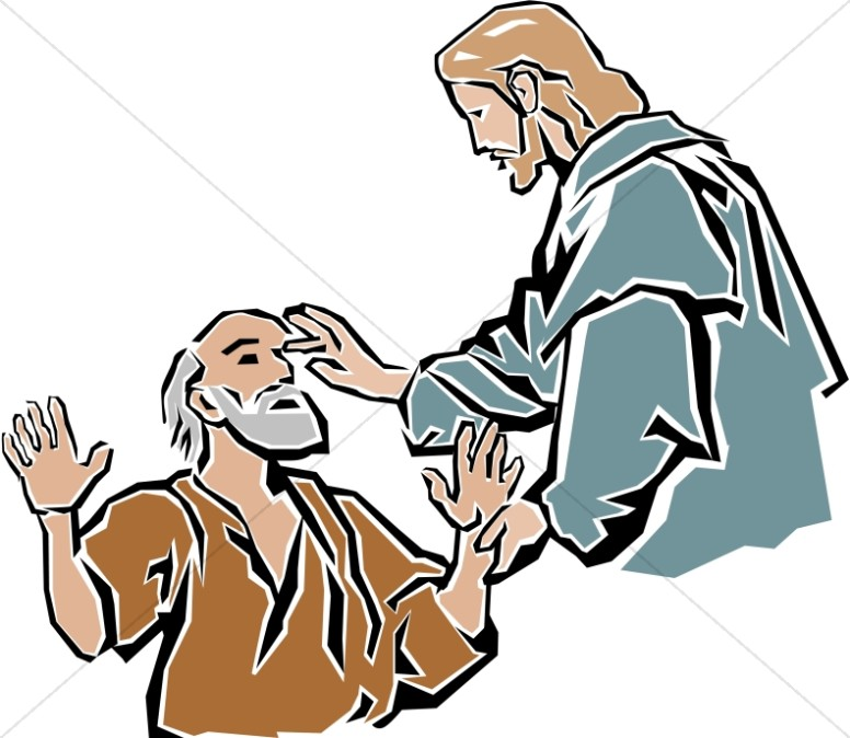 Jesus Healing The Blind New Testament Clipart