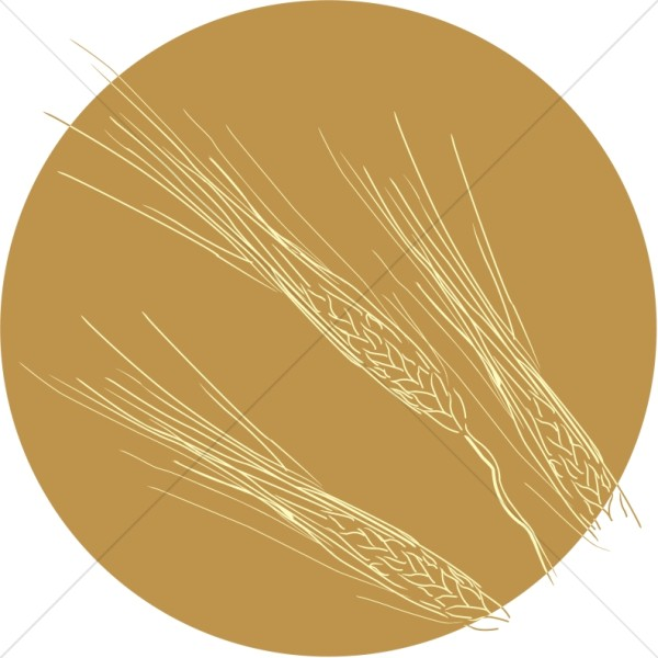 Brown Circle with Golden Wheat