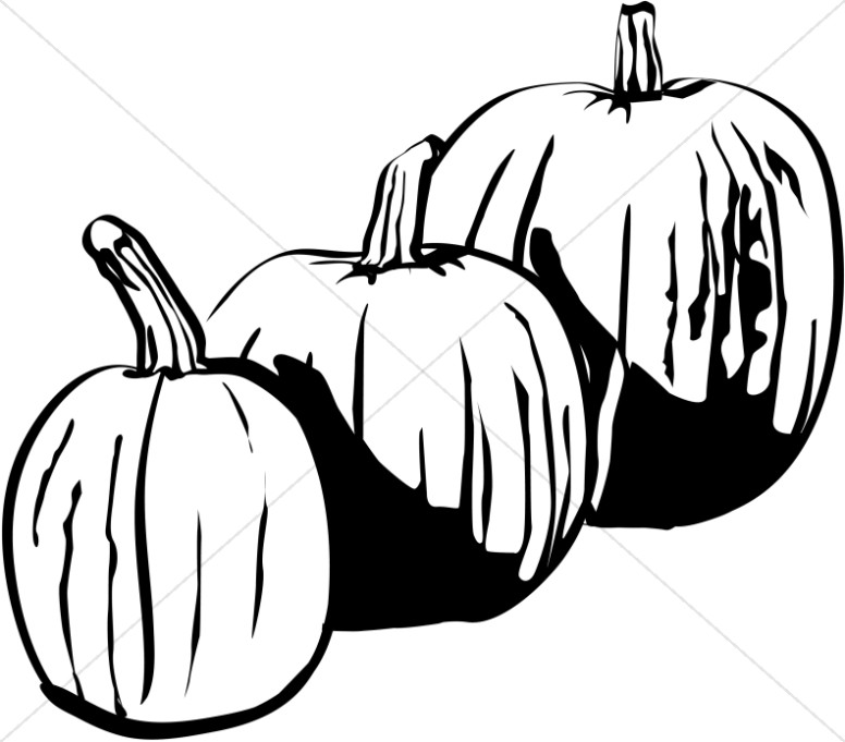 Three Black And White Pumpkins Harvest Day Clipart