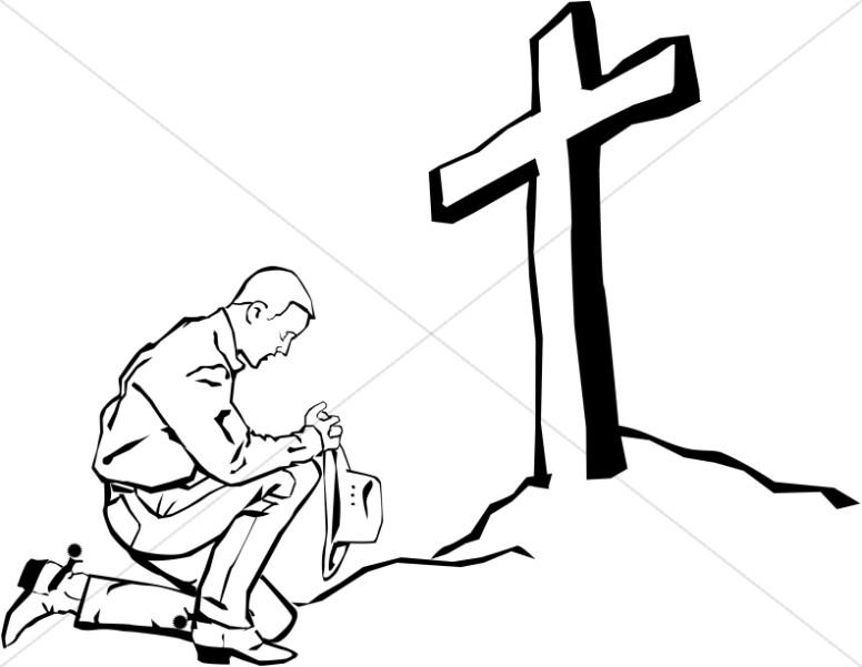 Praying Cowboy At The Cross Prayer Clipart