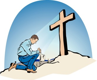 Praying Cowby at Cross in Color