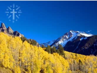 Yellow Aspen with Blue Sky and Cross