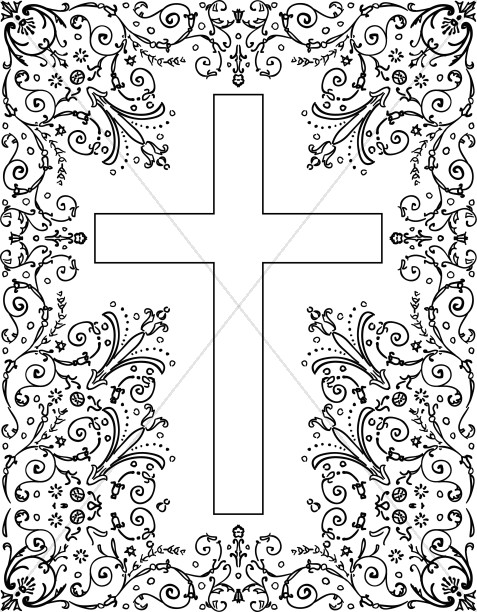 Black and White Floral Cross Border