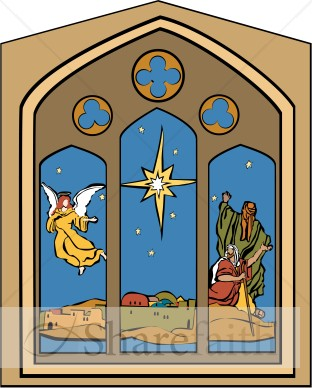 Nativity Window with Star, Angel and Shepherds