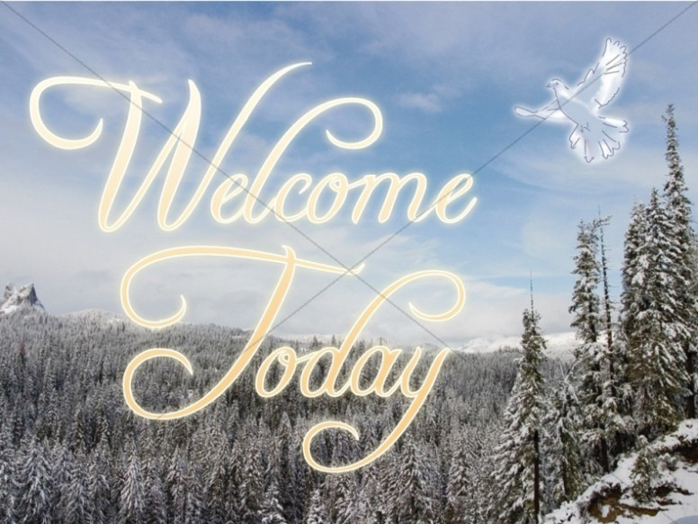 Snow on Trees with Welcome Message and Dove