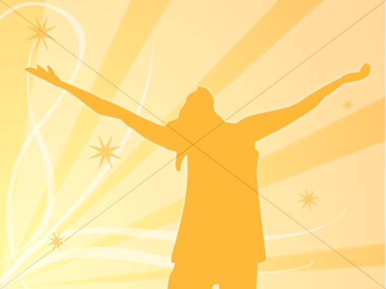 Praising Woman in Orange Silhouette