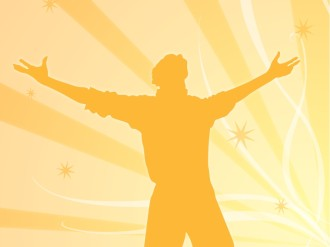 Praising Man in Orange Silhouette