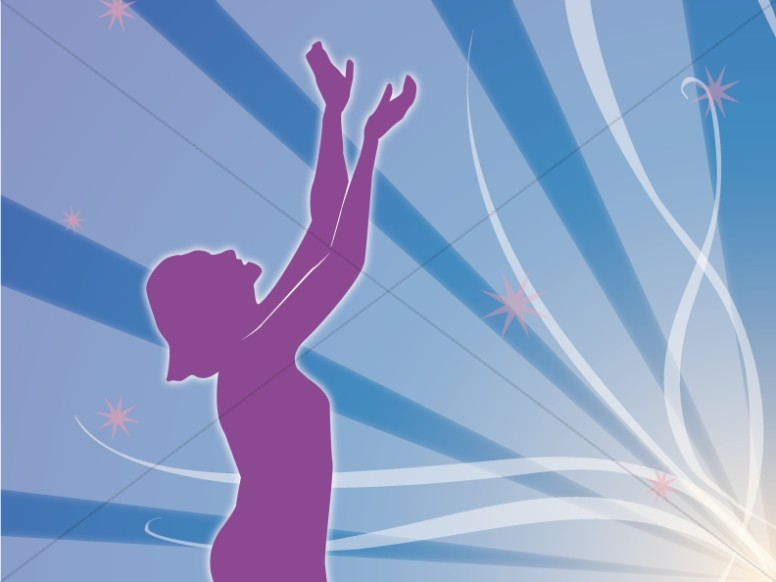 Woman in Purple Silhouette with Uplifted Hands