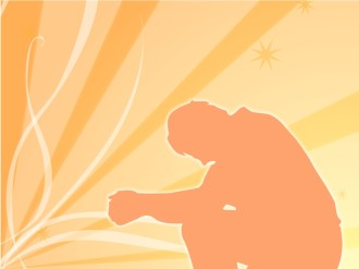 Man Praying in Orange Silhouette
