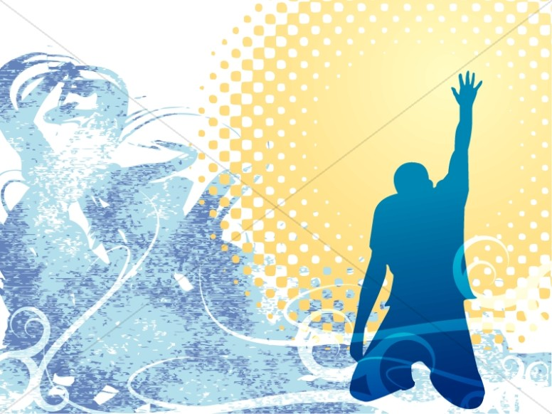 Kneeling Man In Blue Silhouette Worship Backgrounds