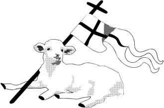 Black and White Lamb with Christian Banner