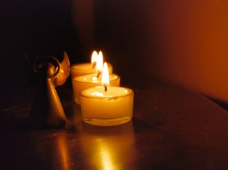 Angle with Line of Lit Candles