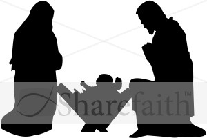 Mary, Joseph and Baby Jesus Silhouette