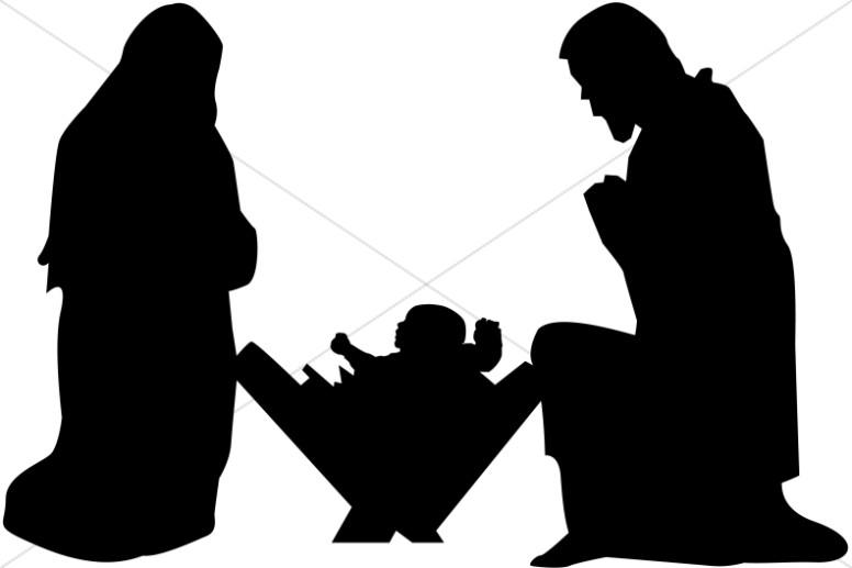Mary, Joseph and Baby Jesus Silhouette