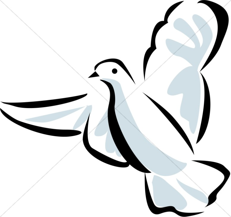 Line Art Dove with Blue