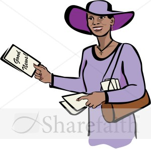 Christian Woman in Purple with Tracts